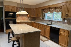 Granite kitchen remodel with island for seating in LaPlata, MD