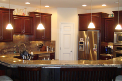Kitchen Remodelng in St Marys MD, Crema Bordeaux granite with  full height splash