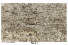 Blue Dunes granite.  Heavy in movement with rich browns and golds and accents of blue. Would go well with a white, gray or neutral color scheme.  Mid price range.