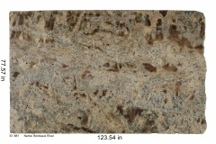 Bordeaux River granite. Warm toned, lots of reds and cream colors with interesting movement and bits of mica throughout. Looks great with neutral colors and warm tones.  Low price range.