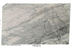 Calacatta Moon marble with honed finish.  White stone with a gray hue, unique movement and beautiful gray veins. Would be perfect for any bathroom project.  Mid range price.