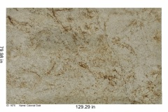 Colonial Gold granite. Cream color with bright gold and brown specks, loaded with garnet and bits of mica. Looks great on white and wood cabinets.  Low price range.