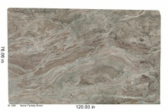 Fantasy Brown Leathered hard marble. This lot is leathered which means it's soft to the touch and has a slightly textured surface. Each lot is unique and has variations of green, white, brown, gray and sometimes blue.  Works with any color scheme. Would look great in a bathroom or kitchen. Low price range.