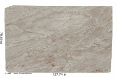 Thunder Bordeaux granite.  An ivory bedrock with a wine hue overall, has gray, white and some maroon veining and loaded with garnet and mica.  Looks beautiful on dark or light cabinets and goes especially well with all shades of gray.  Mid price range.