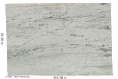 White Fantasy hard marble.  An elegant white stone with blue-ish gray veining and subtle notes of natural green that only add to the beauty of this slab.  Goes great in the kitchen or bathroom.  Low price range.