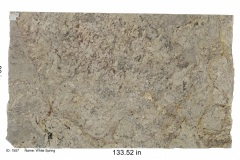 White Springs granite. A creamy bedrock with red, black, gold, and gray veining.  This stone looks beautiful on just about any color cabinet and is great for any area in the house.  Mid price range.